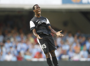 Fabrice Olinga celebrates his goal against Celta Vigo in 2012 when, at age 16, he became the youngest goalscorer in Spanish First Division history. Photo: Reuters