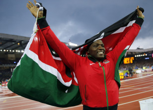 Julius Yego celebrates after winning the men's javelin throw at the Commonwealth Games in Scotland. Photo: Reuters