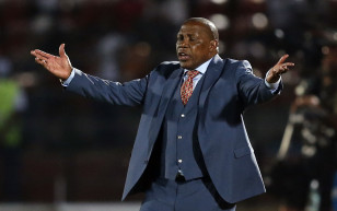 South Africa's coach Shakes Mashaba reacts during their Group C soccer match against Algeria at the 2015 African Cup of Nations in Mongomo