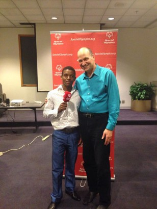 Bright and Sonny at Special Olympics headquarters in Washington, D.C.