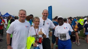 From left to right: VOA's Eric Phillips, Karin Zeitvogel, Sonny Young and William Scottt after the 2014 race.