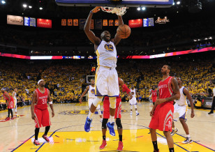 Festus Ezeli dunks in a playoff game against the Houston Rockets. Photo: Kyle Terada-USA TODAY Sports