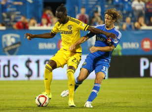 Kei Kamara (L) in action against the Montreal Impact. Photo: Jean-Yves Ahern-USA TODAY Sports