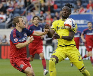 Kei Kamara controls the ball in game against the Chicago Fire. Photo: AP