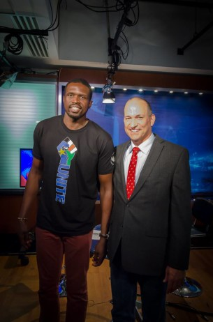 Luol Deng and Sonny in the Voice of America's Studio 53.