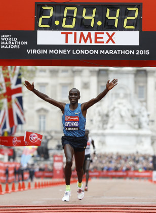Eliud Kipchoge wins the 2015 London Marathon. Photo: Kirsty Wigglesworth/AP