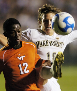 Patrick Nyarko (L) in action for Virginia Tech. Photo: Sara D. Davis/AP
