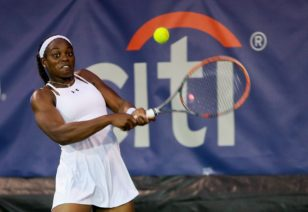 Olympic tennis player Sloane Stevens of the USA in action at the Citi Open in Washington. Photo: Bill Workinger / Voice of America