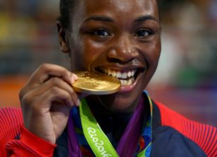 Olympic boxing champion Claressa Shields at the medal ceremony in Rio de Janeiro. Photo: Peter Cziborra / Reuters