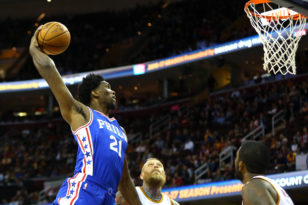 Joel Embiid dunks in a game against the defending NBA champion Cleveland Cavaliers. Photo: Aaron Doster-USA TODAY Sports