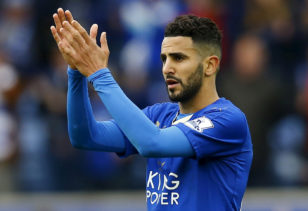 Riyad Mahrez applauds fans after Leicester City match. Photo: Darren Staples / Reuters