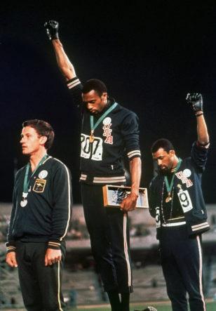 Olympics Salute Black Socks No Shoes Black Scarf