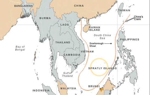 Us asia pivot facing troubled south china sea state of affairs china claims vast maritime areas in the south china sea including waters also claimed by vietnam the philippines and others map voa gumiabroncs Gallery