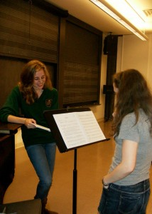 "An ""Illyria"" rehearsal with my actor Anna Powell '13 (that's me on the left)"