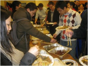 George Washington University students line up for dumplings, noodles, tofu, and other delicious food.