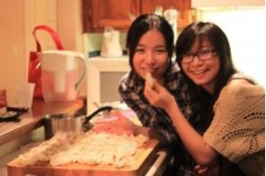 My friend Xue Li and her friend making dumplings