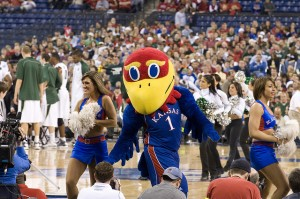 KU mascot and cheerleaders (Creative commons photo by Flickr user bradjward)