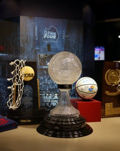 University of Kansas basketball trophies displayed in the university basketball stadium, Allen Fieldhouse (Creative commons photo by proforged on Flickr)