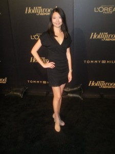 On the red carpet of the Hollywood Reporter's Oscars party