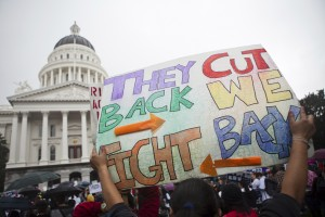 Thousands of college students and faculty protest at the State Capitol in Sacramento