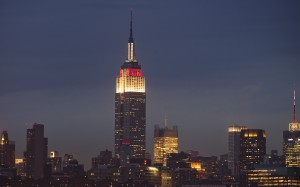 The Empire State Building (lit up red and white to support Japan) - Photo: Reuters