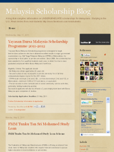 Screenshot of the Malaysia Scholarship Blog