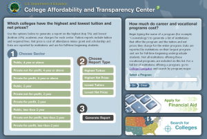 Screenshot from the Department of Education's College Affordability and Transparency Center