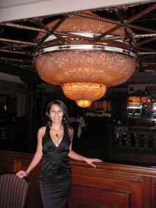 First little black dress - and check out that chandelier