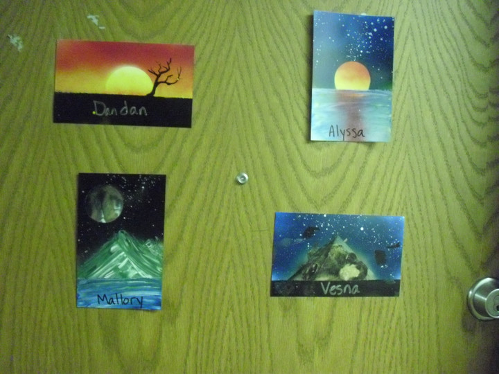 Photos on the dorm room door