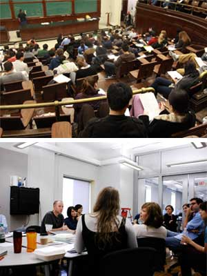 Comparison of a lecture classroom (top) and a seminar classroom. These are particularly extreme examples of a really big lecture hall and a really small seminar class. (Creative Commons photos by Flickr users Mira and Marcus Ojeda)