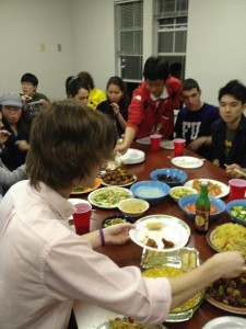"A ""reunion dinner"" with friends at college"