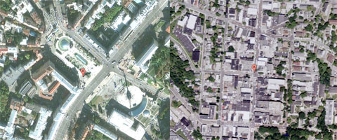 Kiev (left) and Ohio University (right) (Source: Google Maps - DigitalGlobe, GeoEye, USDA Farm Service Agency)