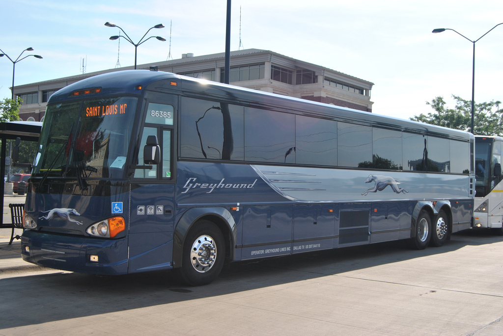 Greyhound bus in Champaign Urbana, Illinois (Creative Commons photo by ...