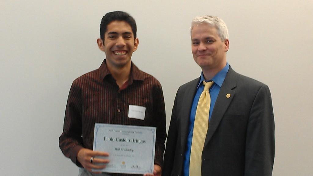 Receiving my scholarship award, with NHCC President, Dr. John O'Brien