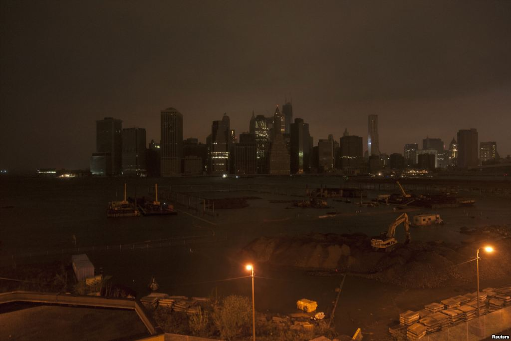 The New York City skyline in darkness as hurricane Sandy hit Monday night