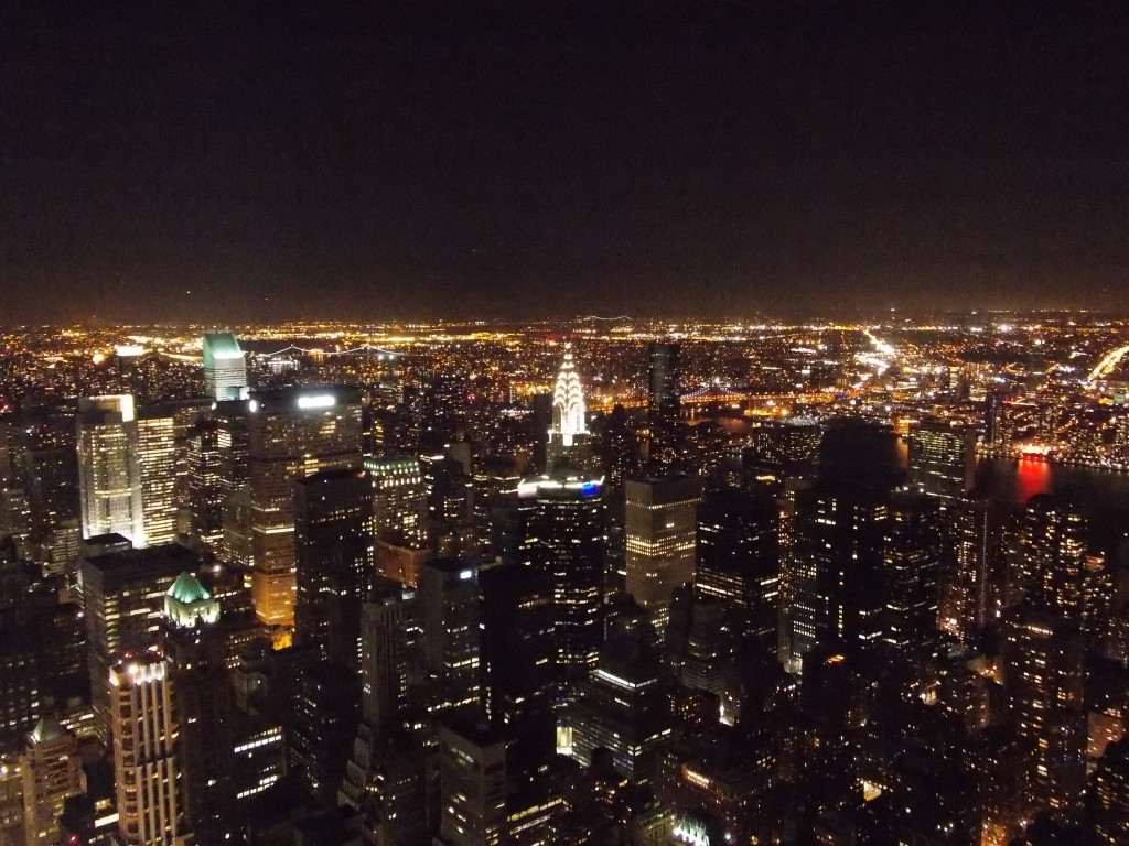 The view from the top of the Empire State Building in NY