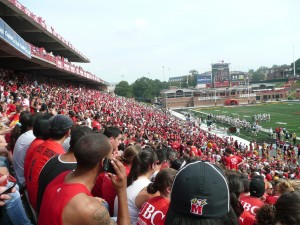A sea of red in the stands at the football game