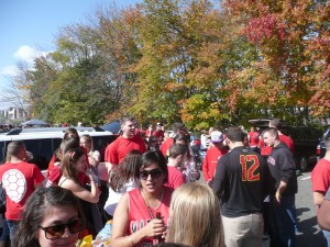 A tailgate party in full swing