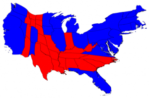 North v. south in terms of election results, scaled based on number of electoral votes (Creative commons image by Mark Newman, University of Michigan)