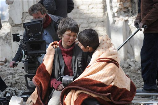 Fawad Mohammadi and Jawanmard Paiz filming a scene for Buzkashi Boys in Kabul (Photo: AP)
