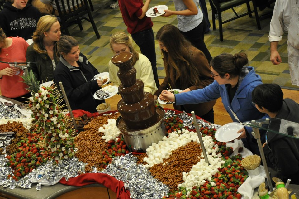 Valentine's Day celebration at Furman's dining hall