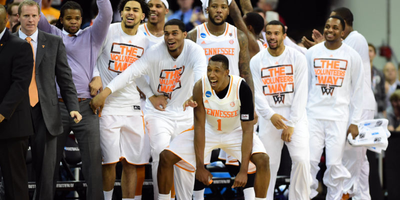 Mar 23, 2014; Raleigh, NC, USA; The Tennessee Volunteers bench celebrates in the closing second against the Mercer Bears in a men's college basketball game during the third round of the 2014 NCAA Tournament at PNC Arena. Mandatory Credit: Bob Donnan-USA TODAY Sports - RTR3IA1W
