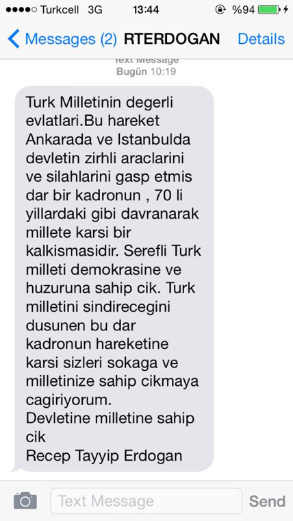 Erdogan's text to Turks