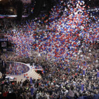 Balloons fall after the final day of the Republican National Convention in Cleveland, Thursday, July 21, 2016. (AP Photo/John Locher)