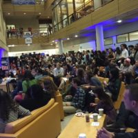 Students at American University in Washington D.C. watch the election results come in.