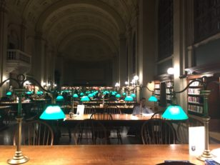 Inside one of Boston Public Library's study rooms.