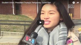 student ponder travel ban snip