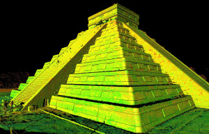 In this photo provided by CyArk, Oct. 21, 2013, an image generated by 3D laser scan data, shows a perspective of Chichen Itza, in Mexico.