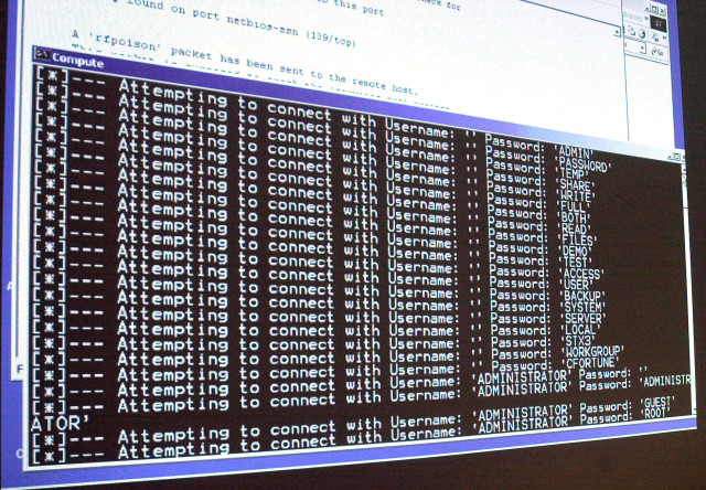 FILE - A computer screen shows a password attack in progress