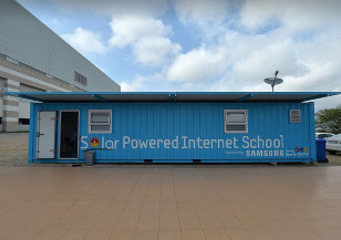 A repurposed shipping container, which was turned into one of Samsung's Solar Powered Internet Schools, the first of which was built in South Africa as part of the company's Hope for Children Initiative. (Samsung Electronics)